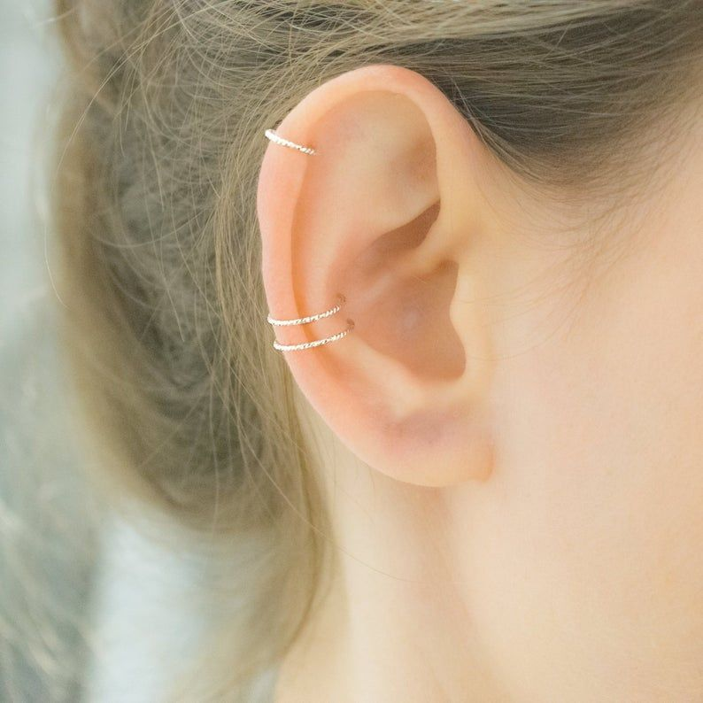 Fake Piercing clip on cartilage earring Cicle Helix earring minimalist circle ear cuff earring in 925 Sterling Silver and Gold plated