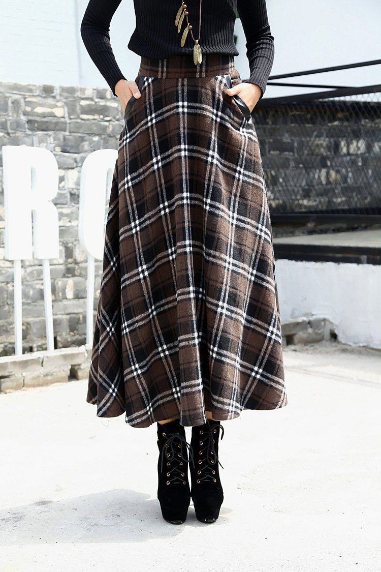 cf876bf73fa03 Retro Plaid Pattern High Waist Woolen A-Line Skirt in 2019