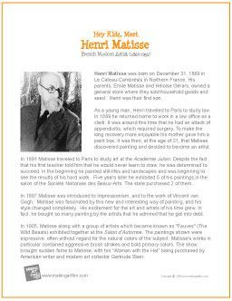 henri matisse printable biography makingartfun com  henri matisse printable biography makingartfun com scheduled via