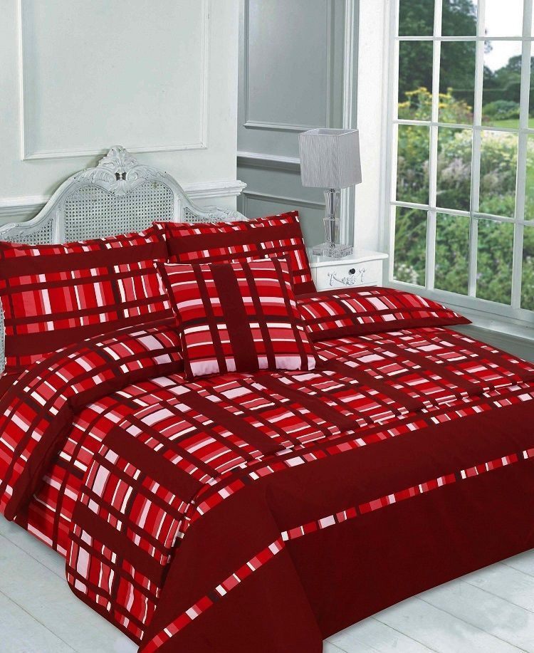 Checked Finley Red Bed In A Bag Duvet Quilt Cover Bedding Set Linens Range Discount Bedding Sets Red Bedding Bed Duvet Covers