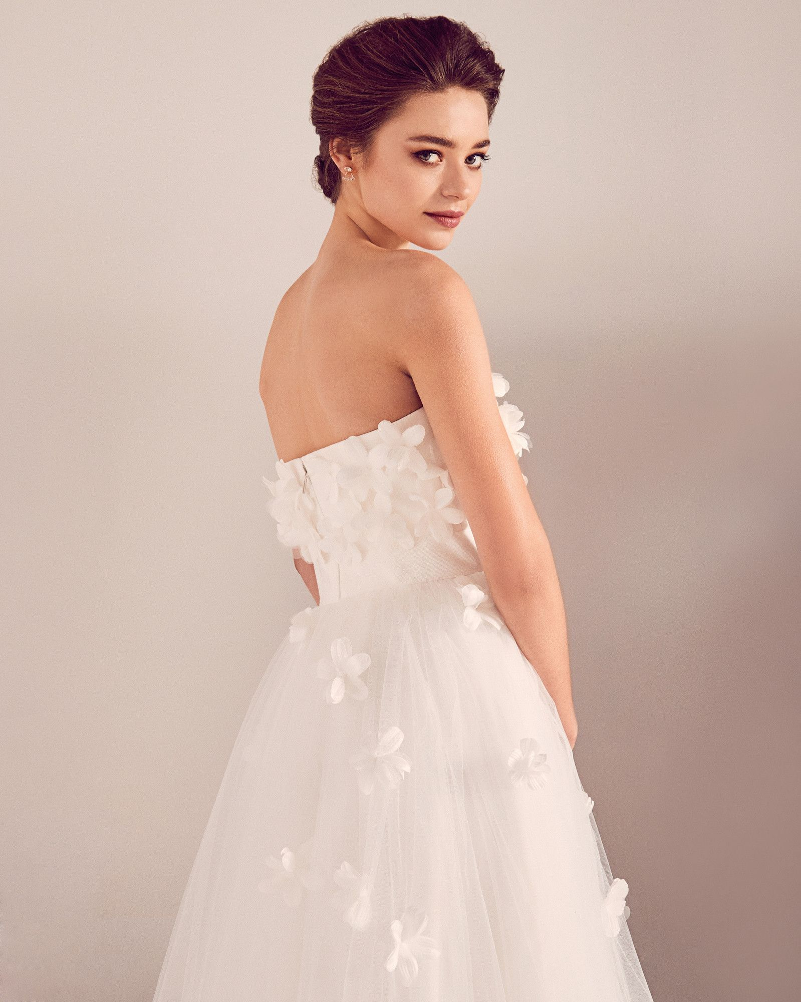 tedbaker WedWithTed Floral appliqué tulle bridal dress