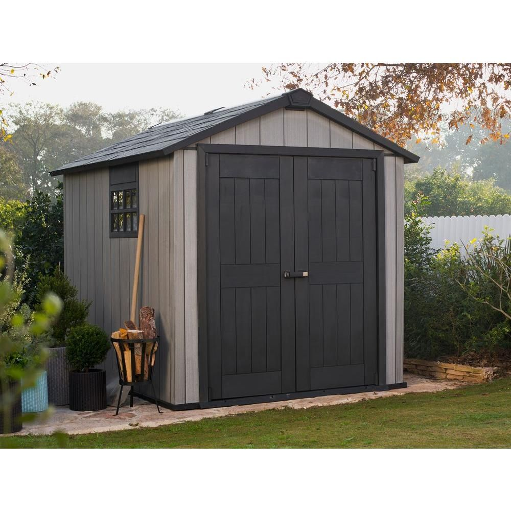 Keter Oakland 7 5 Ft X 9 Ft Plastic Shed 224448 The Home Depot In 2020 Plastic Sheds Shed Building A Shed