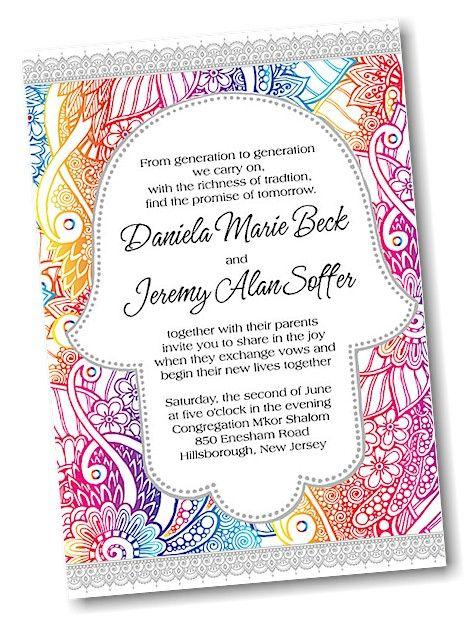 Hamsa Jewish Wedding Invitation Jewish Wedding Invitations