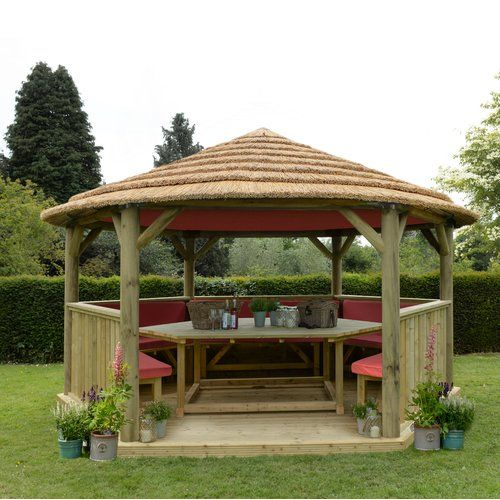 Outdoor Kitchen With Thatched Gazebo Outdoor In 2019: Sol 72 Outdoor Furnished 4.9m X 4.3m Wooden Gazebo With