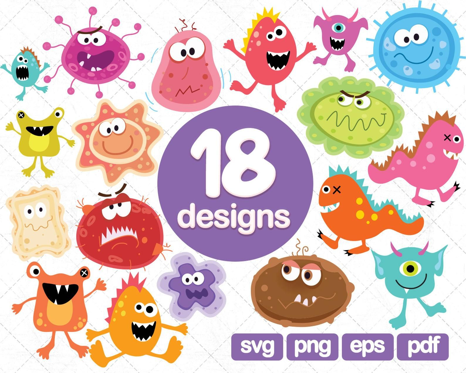 18 Monsters Clipart Collections Bacteria Clipart Microbe Etsy Monster Clipart Clip Art Cartoon Clip Art