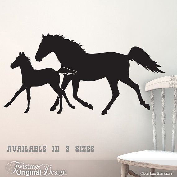Trotting Horses Wall Decal - Year of the Horse Silhouettes Equestrian Art Farm Animals Horse Lover Ranch Country Decor & Trotting Horses Wall Decal - Year of the Horse Silhouettes ...