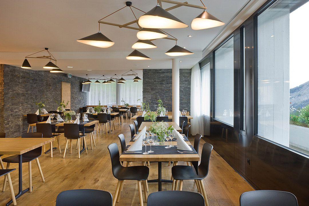 Design Studio Berlin emily of three pendant ls in swiss restaurant by daniel
