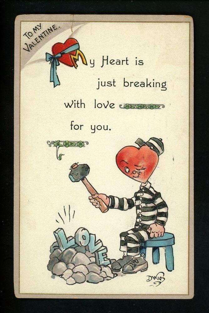 Artist Signed Vintage postcard Dwig Dwiggins Valentines Day Gibson