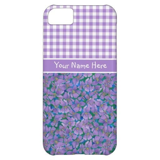 Custom iPhone 5c Case, Violets and Check Gingham: up to $47.95 - http://www.zazzle.com/custom_iphone_5c_case_violets_and_check_gingham-179870698419937314?rf=238041988035411422&tc=pintw