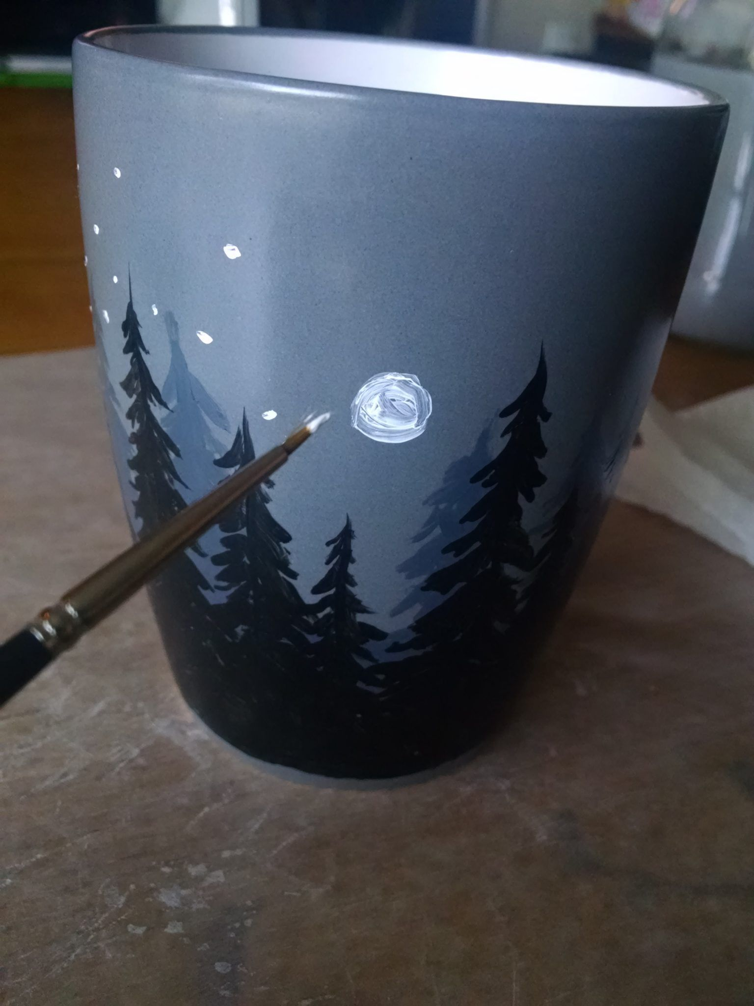 Diy Ceramic Mug Painting Tutorial Dark Forest 8211 Diy Ceramic In 2020 Diy Ceramic Painted Pots Diy Pottery Painting Designs