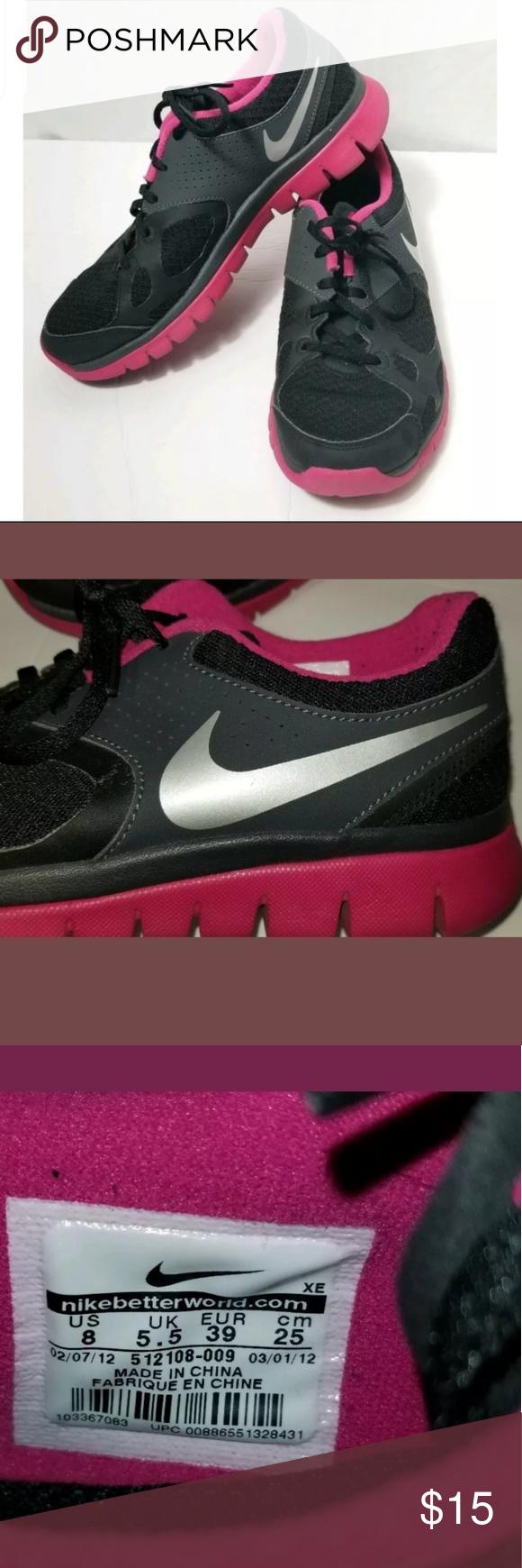 Monumento compañero cangrejo  Nike Flex Fitsole Running Shoes NIKE FLEX FITSOLE #512108-009 WOMEN'S  RUNNING SHOES BLACK PINK SZ 8. Pre-loved condition with lot… | Nike flex,  Nike, Running shoes