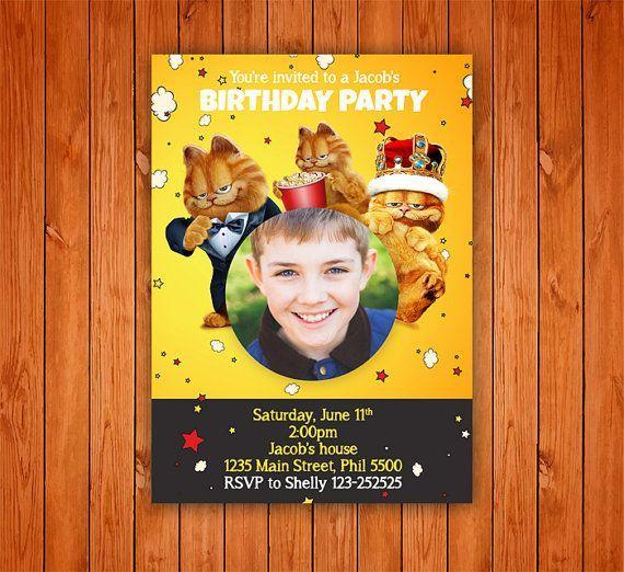 Garfield Birthday Invitation Card Boy Or Girl Birthday Invitation Customize Birthday Invitations Birthday Invitation Card Template Birthday Invitations Girl