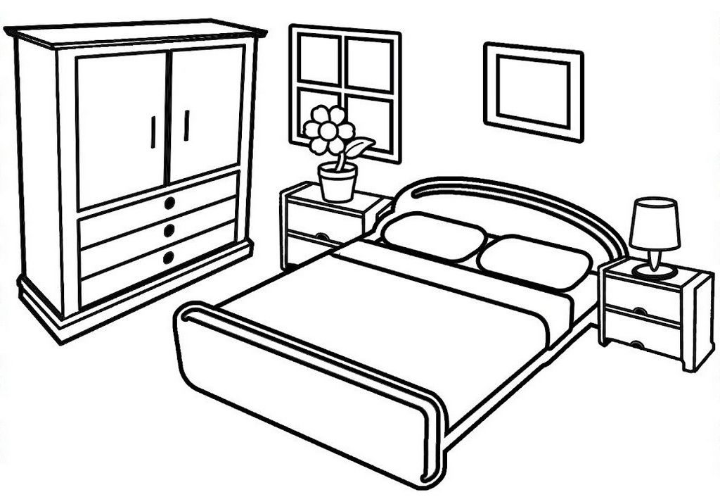 Within These Beautiful And Modern Bedroom Coloring Pages You Ll Find A Creative Opportunity To Relax And Unwind T Coloring Pages Color Easy Drawings For Kids