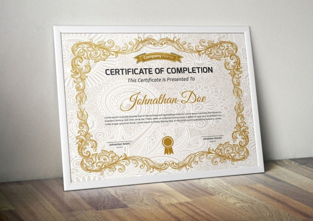 Decorative certificate of completion template certificate of decorative certificate of completion template yadclub Images