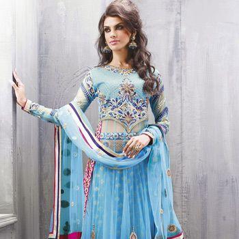 Aqua Blue Net Abaya Style Kameez With Straight Pant
