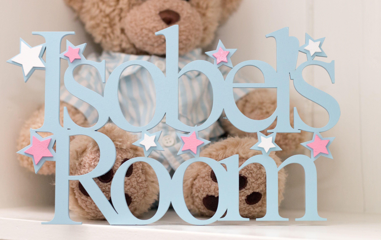 Wooden Bedroom Door Sign Plaque Nursery Baby Boys Girls Pale Light Blue Children Stars Personalised Wooden Gifts Wooden Door Signs Design Crafts
