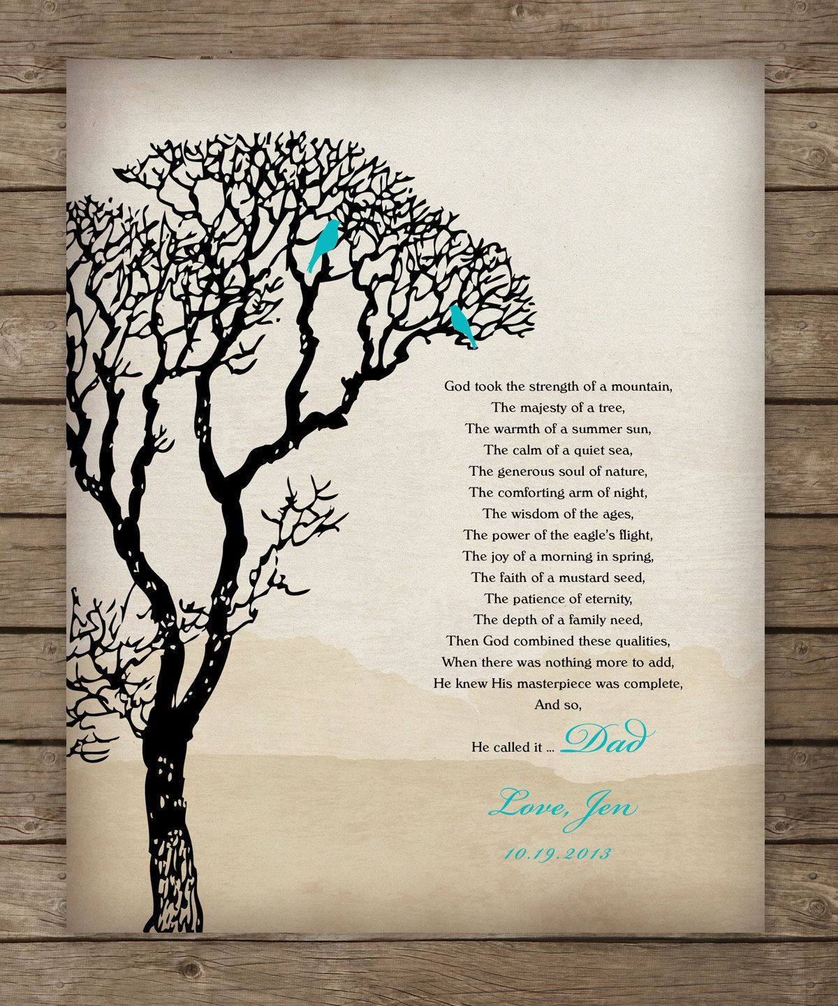 Father Daughter Gift Thank You For Dad By Wordsworkprints