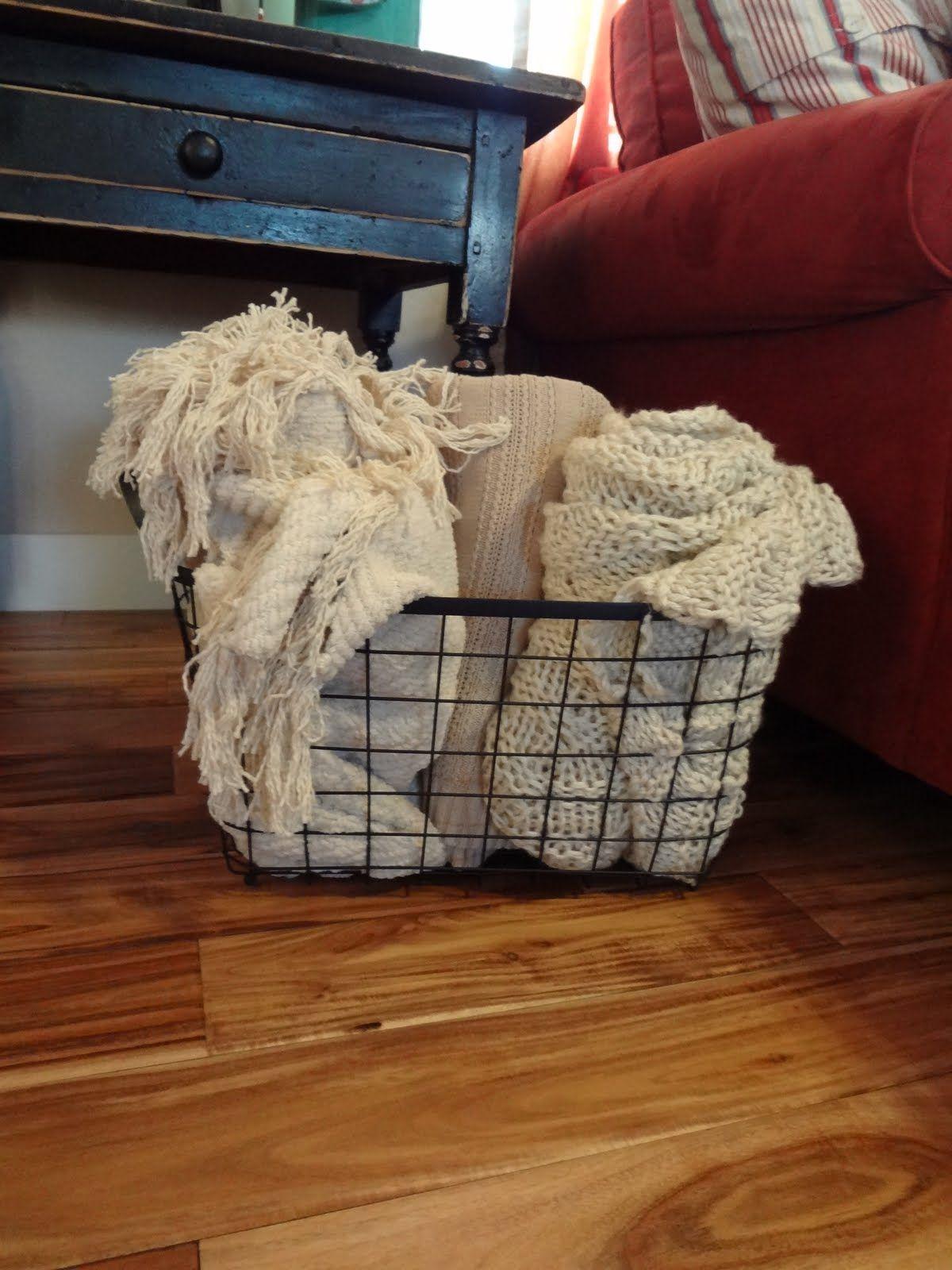 wire throw basket - living room | Home decor baskets ...