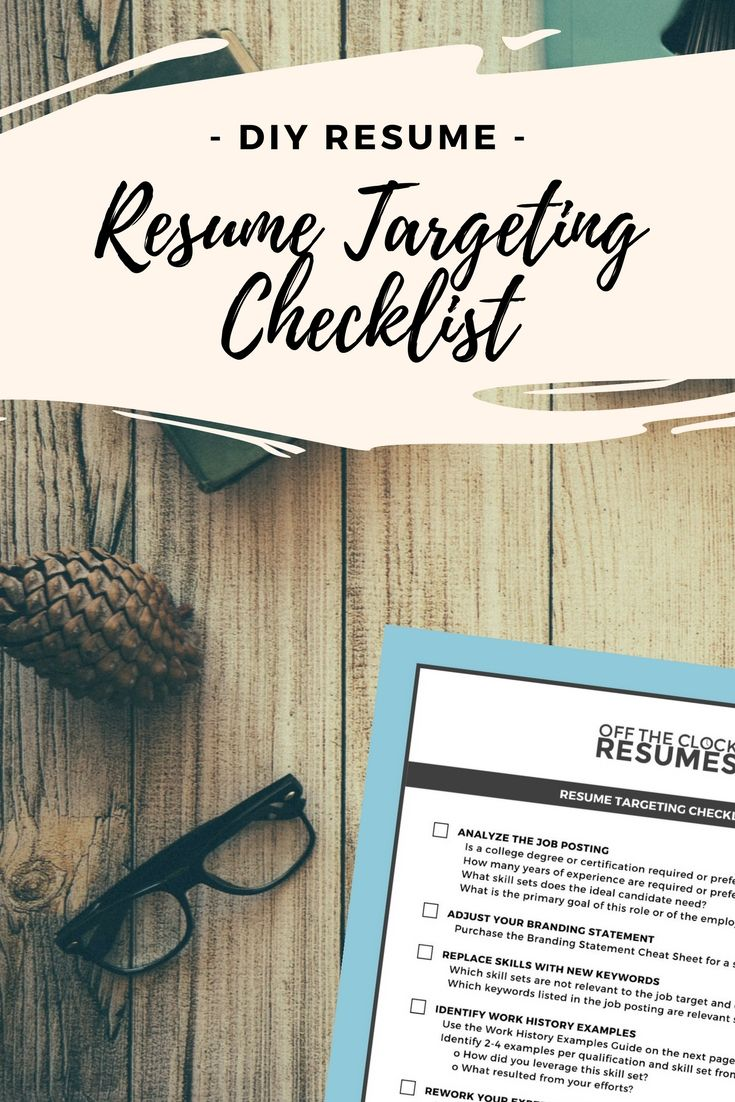 Resume targeting checklist doityourself resume