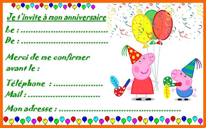 Super invitation pour anniversaire Peppa pig http://nounoudunord  MT15