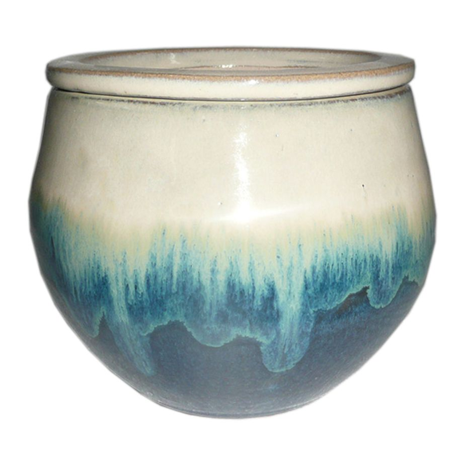 Garden Treasures 4.72-in x 5.12-in Teal Cream Ceramic Self Watering ...