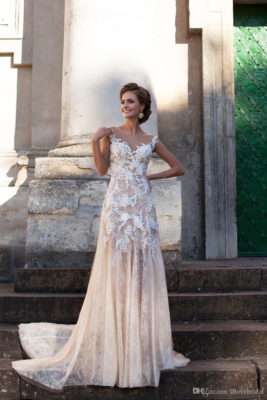 High Quality A Line Champagne Wedding Dress Vestios De Novia
