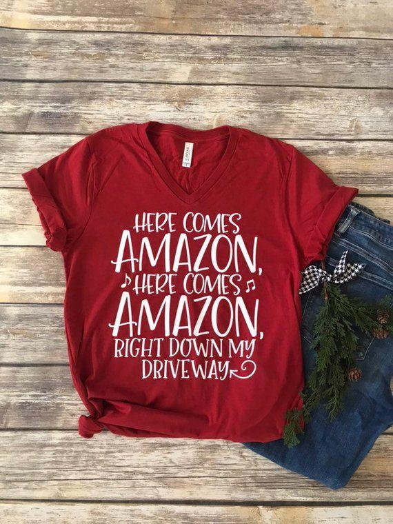 93ffc7ebf Christmas Tee Shirt>Here Comes Amazon Shirt >Christmas Shirt> Vinyl Shirt > Trendy  Tee Shirt> Funny Christmas Shirt> Mom Shirt> Bella Canvas