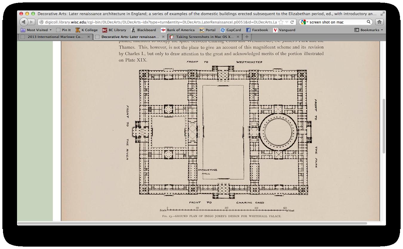 Groundplan of Inigo Jones's design for Whitehall