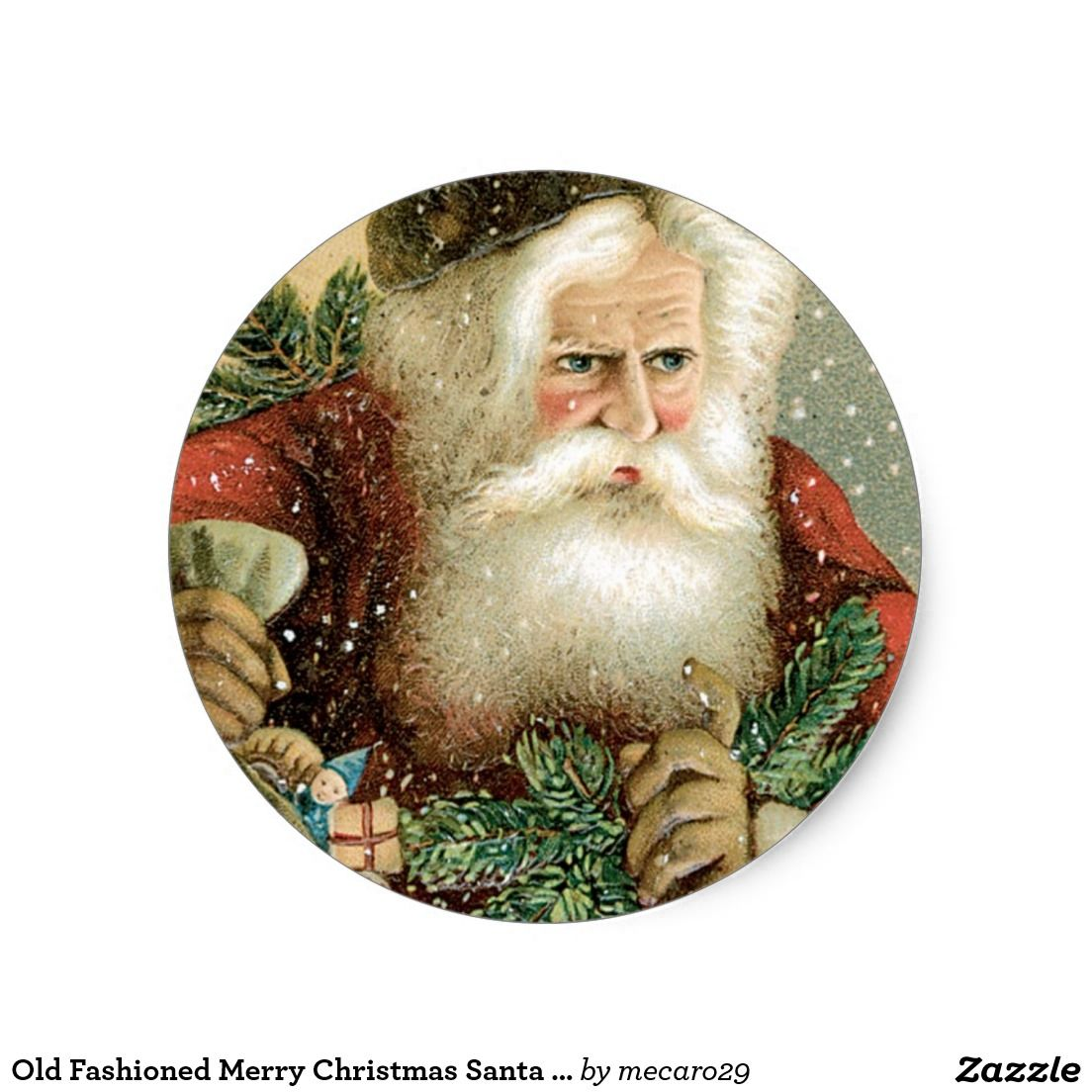 Old Fashioned Merry Christmas Santa Claus Classic Round Sticker ...