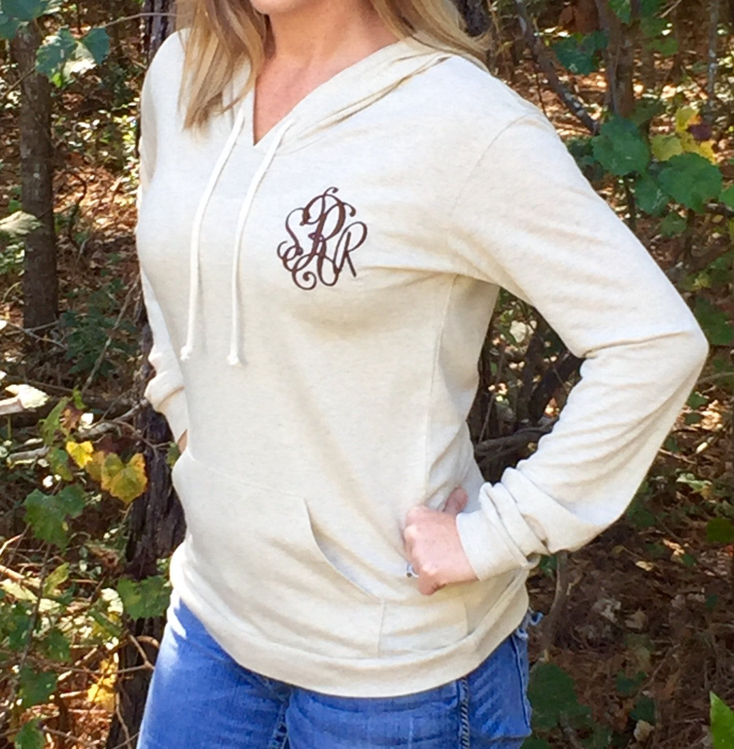 Monogrammed Sweater, Monogrammed pullover, Monogrammed hoodie, Monogram gifts, Organic cotton pullover, Monogrammed ladies pullover by PoshPrincessBows1 on Etsy