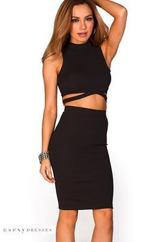 99fcea64f8e82 Sleeveless High Neck Crop Top and High Waist Pencil Skirt Black Crop Top  Dress Set
