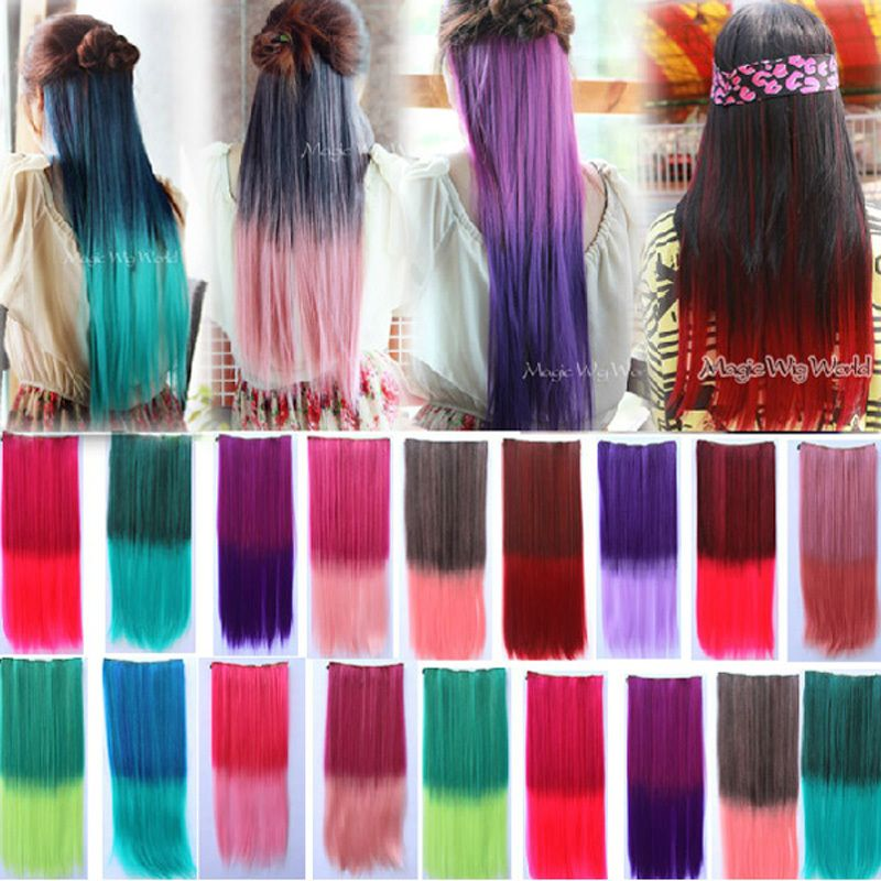 1 Piece 5 Clips 24 Inches Charm Long Straight Multi Color Graduate