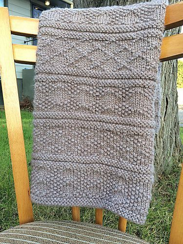 Free Easy Knitting Pattern for Guernsey Style Baby Blanket ...