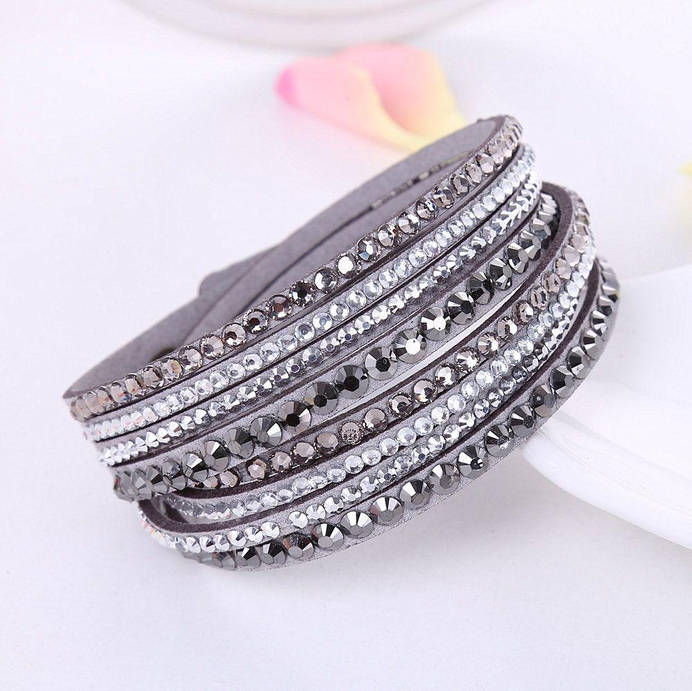 Multi layer rhinestone crystal wrap bracelet price u free