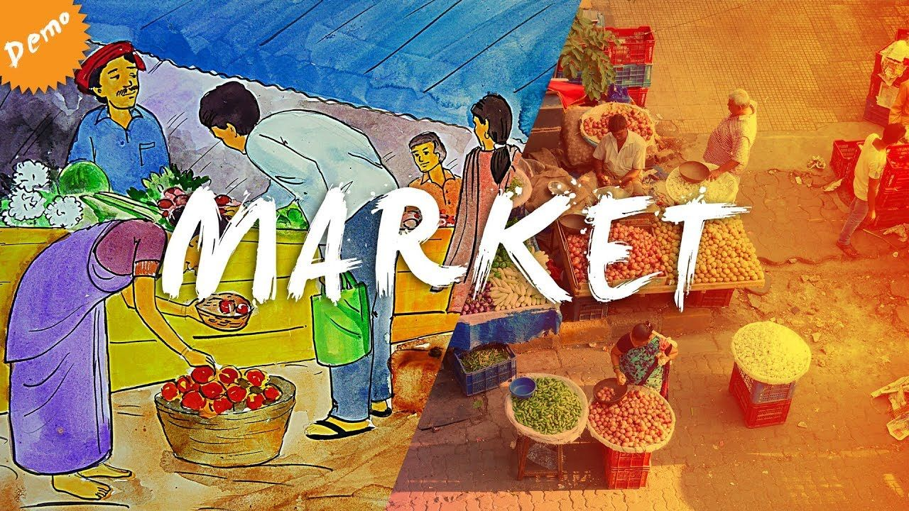 Market Poster Colour Memory Drawing Mh Aac Cet Jj Cet