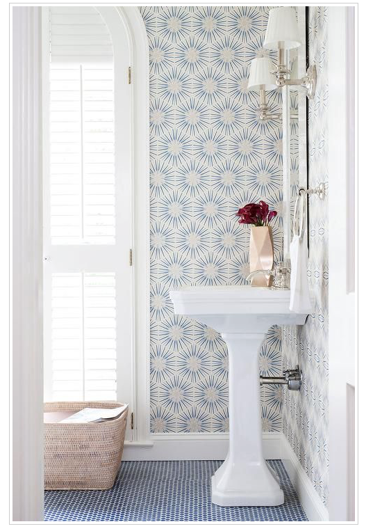 Nice Mix Of Blue And White Wallpaper And Tile Floor Blue Powder Rooms Blue Penny Tile Room Wallpaper