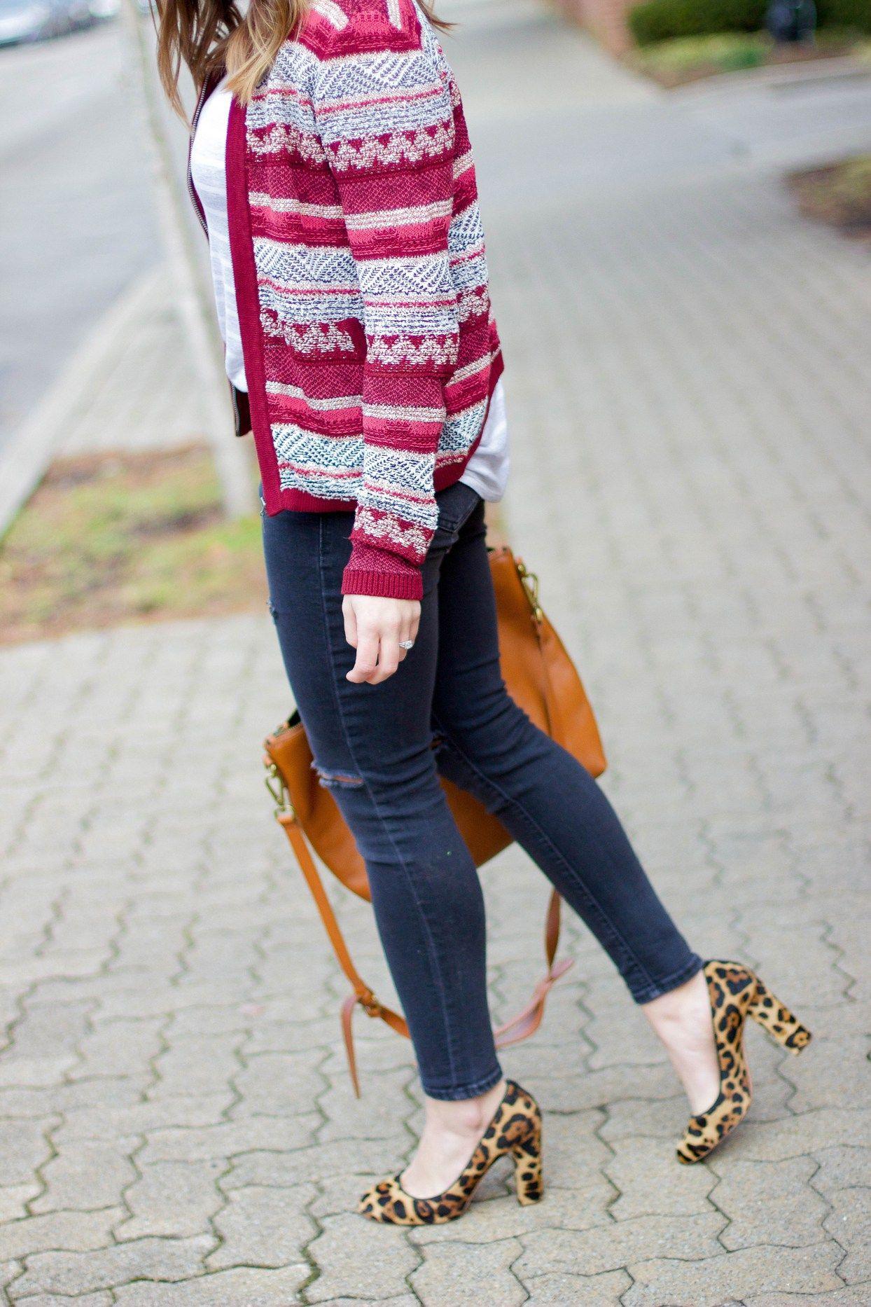 Loft Sweater, Distressed Denim, Leopard Pumps on Glitter & Gingham (@sskaggs0)