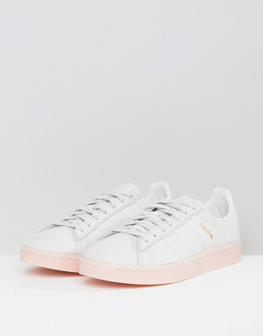 8aa603d324a1 adidas Originals Campus Sneaker In Pale Gray With Pink Sole - White ...