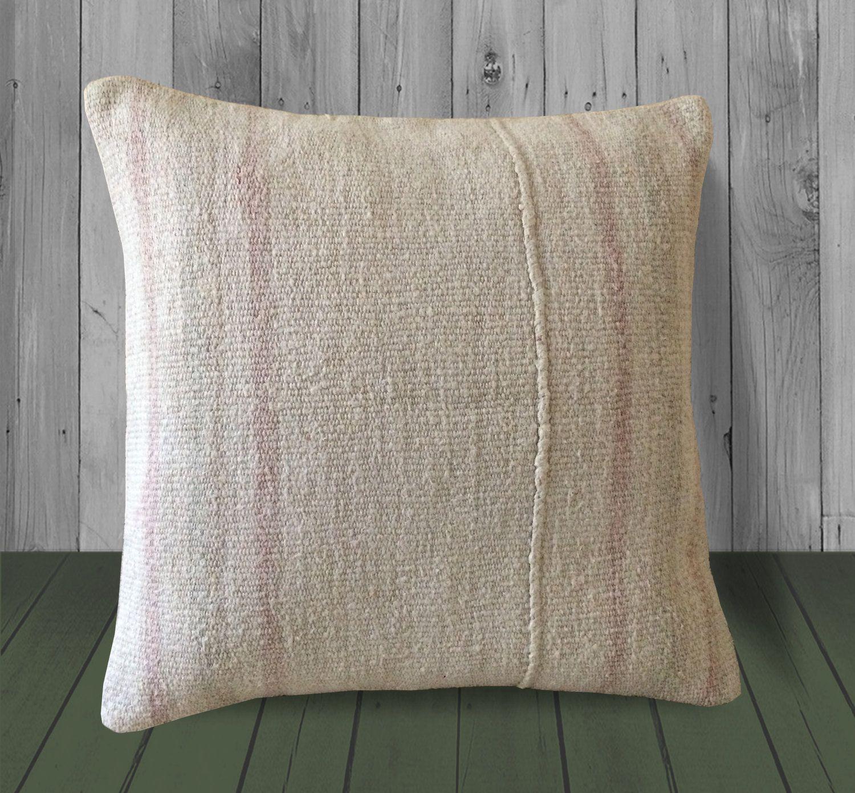 Cream pink farmhouse throw pillow 20x20 stripe kilim