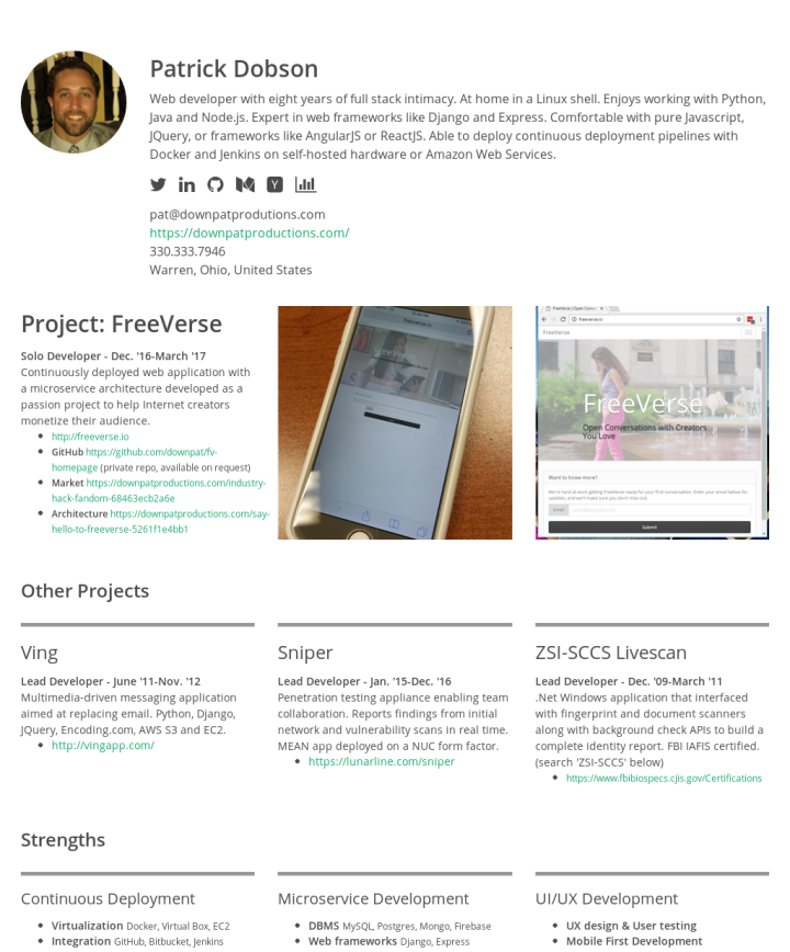Patrick Dobson S Cakeresume Patrick Dobson Web Developer With Eight Years Of Full Stack Intimacy At Home In A Linux S Resume Examples Resume Wellness Design