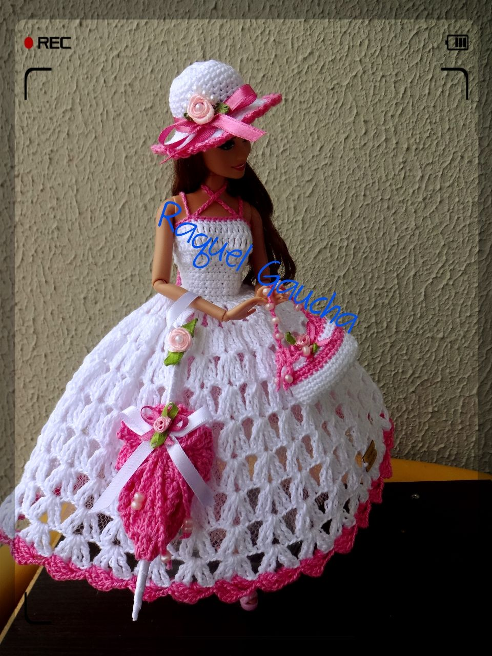 Cléa5 #crochet #Vestido #Muñeca #Dress #Hat #Chapéu #Sombrero #Bolsa ...