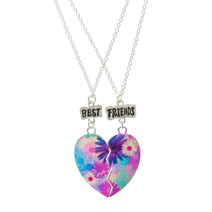 Prix usine 2019 luxe où puis je acheter Claire's Floral Print Heart Best Friend Necklaces | Products ...