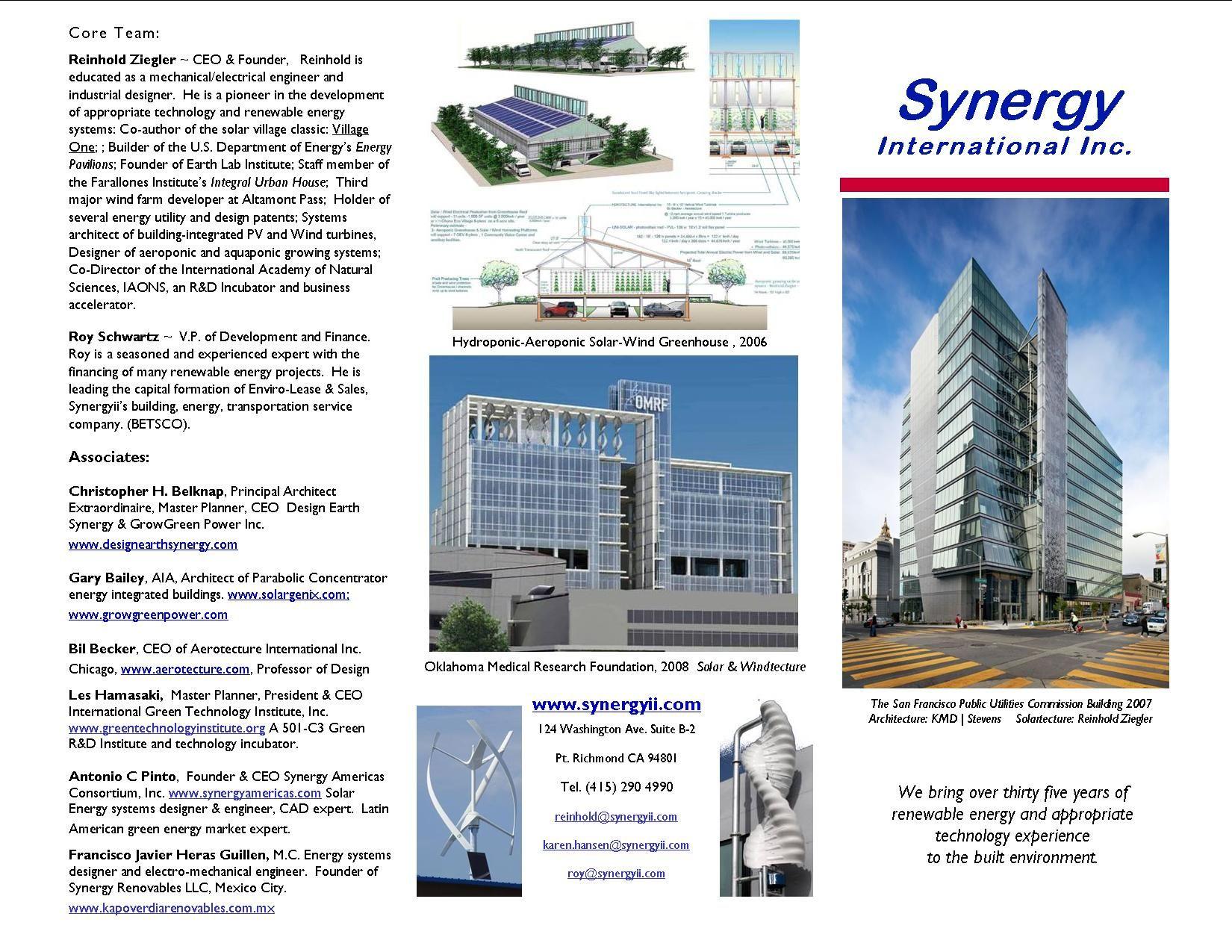 Synergy Company Brochure 2015 Environmental Design Company Brochure Energy Projects