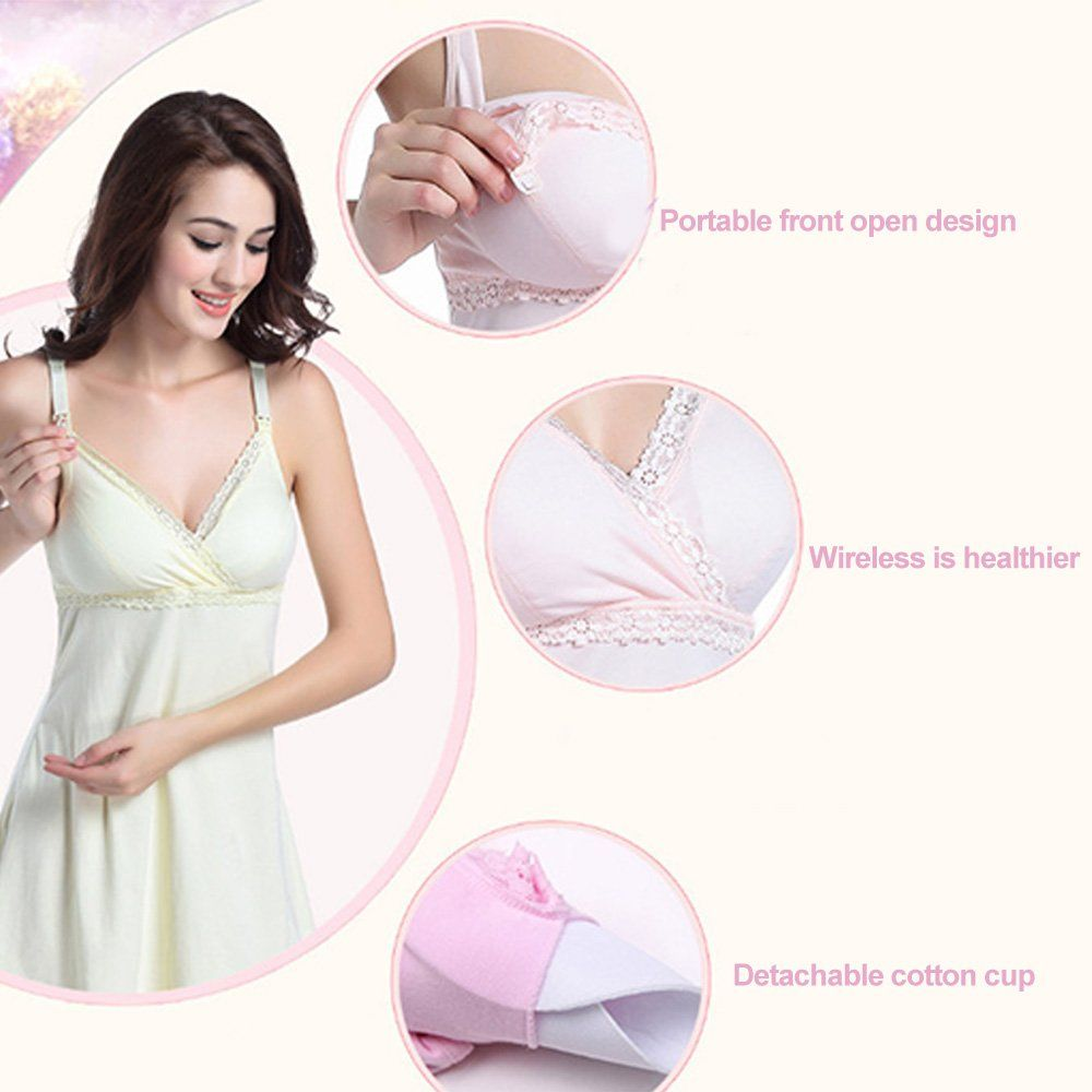 f573a3325ac6f nursing tops - Womens Empire Waist Nursing Dress Maternity Breastfeeding  Nightgown With V Neck Lace Trim Cami Sleepwear Light Yellow * Find out more  at the ...