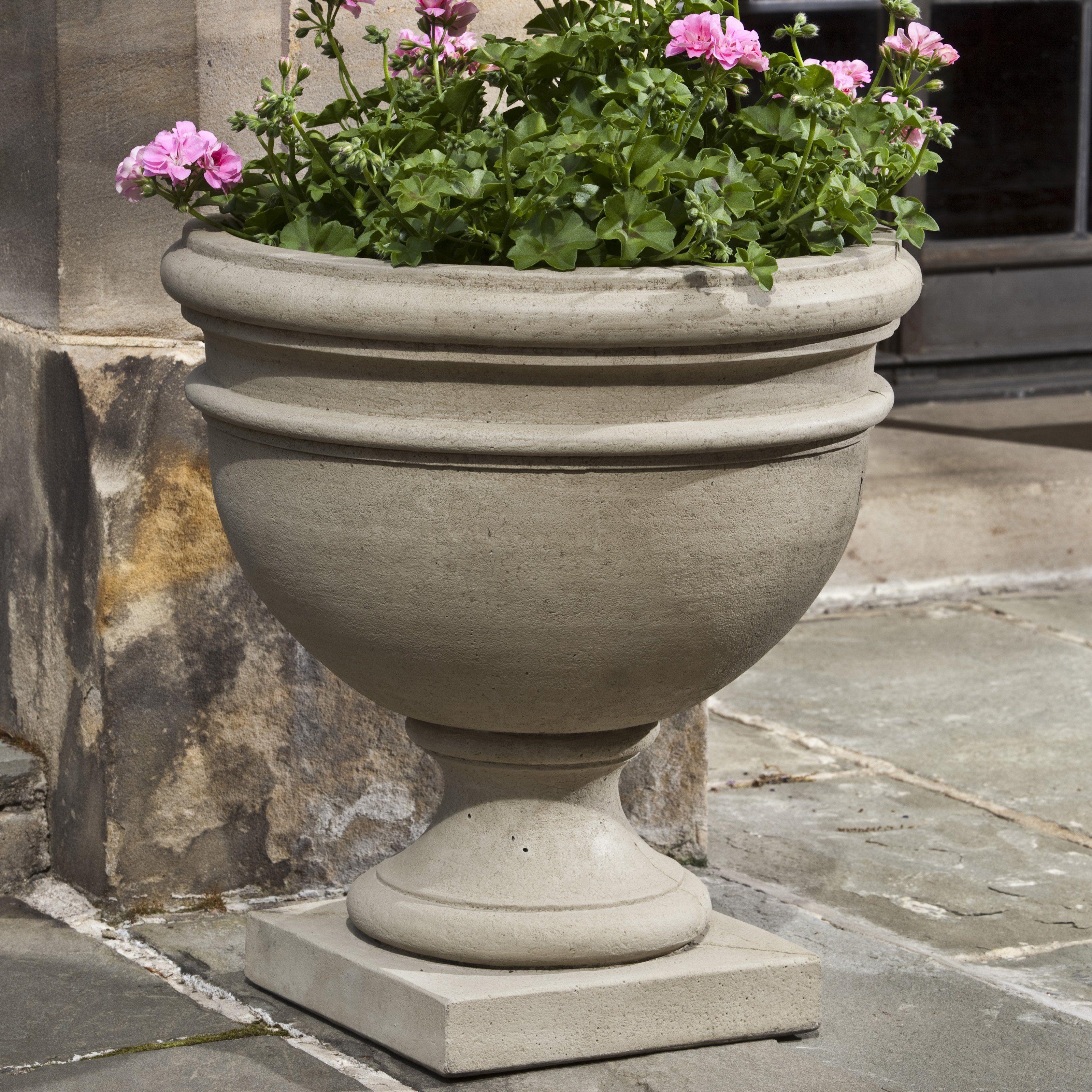 Campania International Montgomery Cast Stone Urn Planter Rustico Verde Travertino