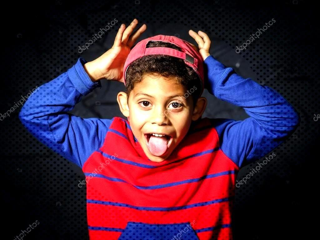 Emotional little black afro-american boy portrait - Stock Photo ,