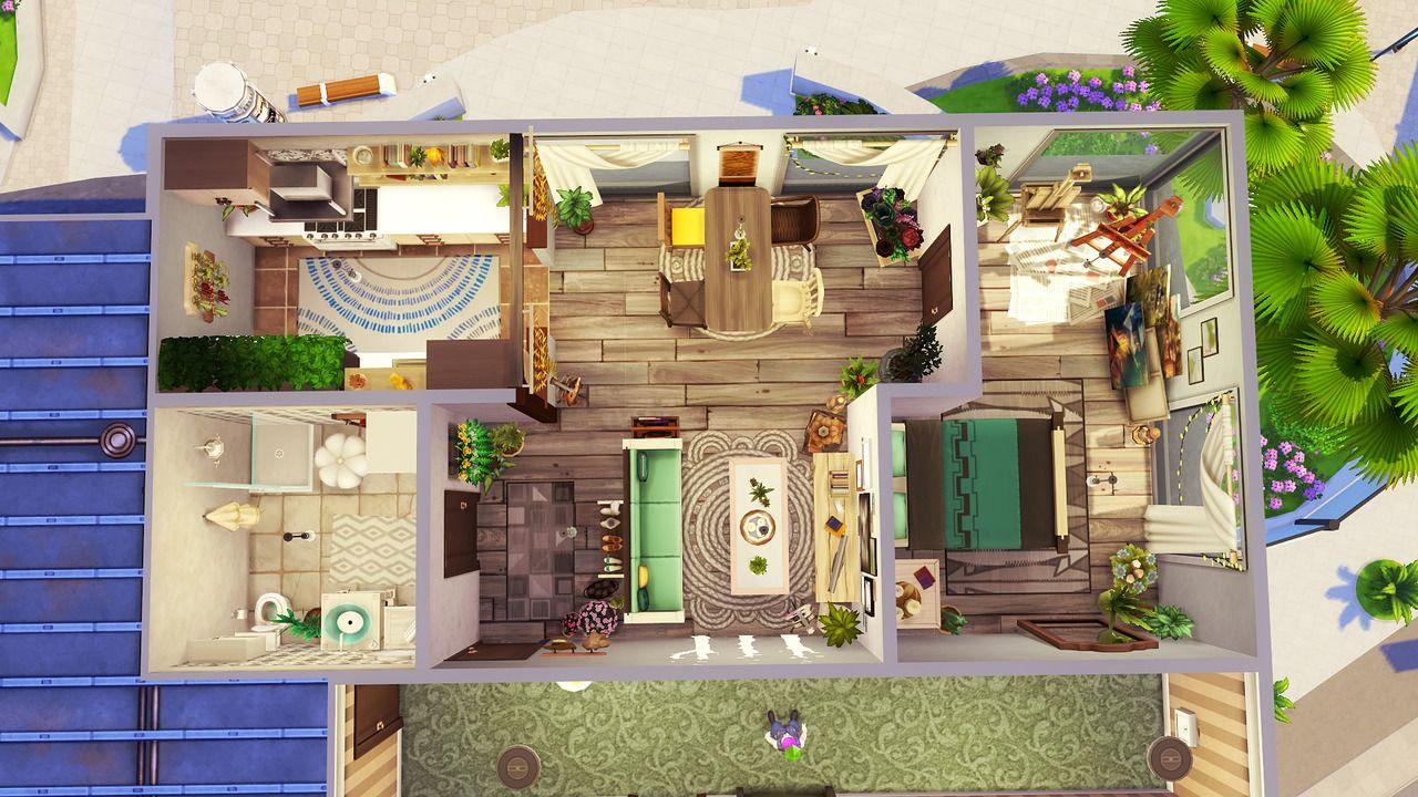 Avelinesims Avelineyt Artsy Boho Apartment 1 Bedroom 2 Sims House Sims 4 House Design Sims House Design