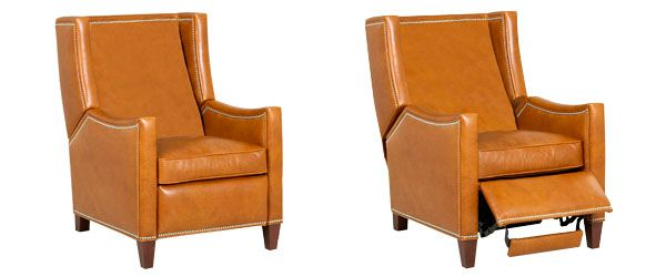 Heywood Small Leather Wingback Recliner Chair Club Furniture