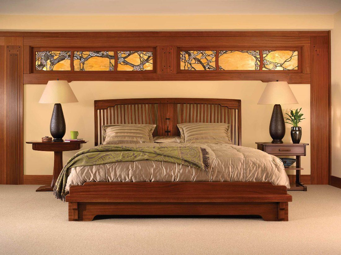 Stickley furniture spindle platform bed pasadena for Arts and crafts bed plans