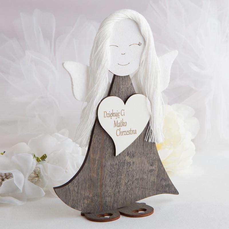 Aniol Drewniany Filcowe Skrzydelka Dla Matki Chrzestnej 23cm Kunst Inspiration